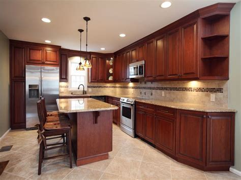 kitchen with brown cabinets amber cherry mitred raised kitchen cabinets with a brown