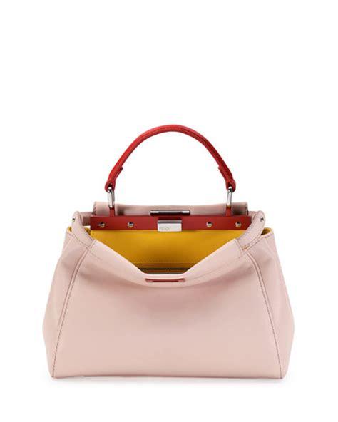 light pink mk purse fendi peekaboo mini tricolor satchel bag light pink
