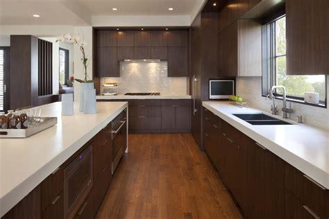 walnut kitchen cabinets Kitchen Transitional with bay