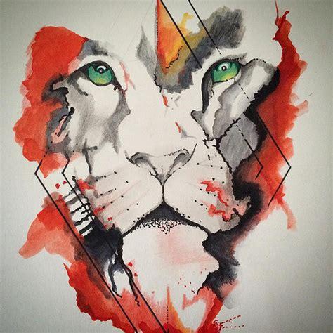 explosi 243 n de color le 243 n dibujo draw leon lion acuarel