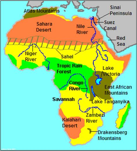 6 regions of africa map this map describes the physical features of africa it