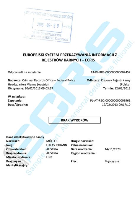 Criminal Record Certificate Austrian Criminal Record Check From Federal Bureau Vienna Ecris