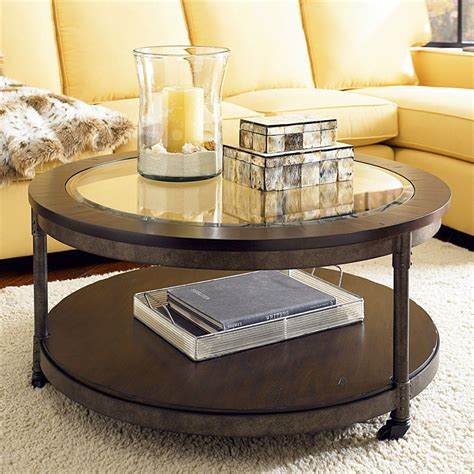 Round Glass Top End Table Decor Ideasdecor Ideas | saving small living room spaces with round brown wood