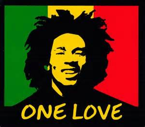one love rasta colors with bob marley small bumper