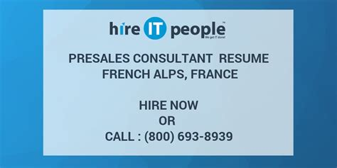 Tn Visa Management Consultant Mba by Presales Consultant Resume Alps Hire It