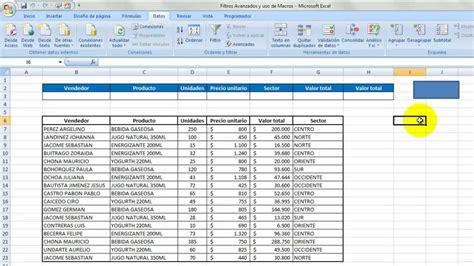 tutorial uso excel 2010 filtros avanzados y uso de macros youtube