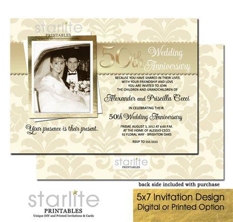 printable anniversary invitations golden 50th wedding anniversary invitation 50th