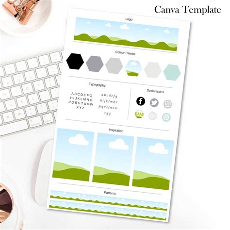 Brand Board Template Black White And Copper Connected Colleague Canva Website Template