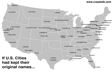 us map without cities infographic if u s cities had kept their original names
