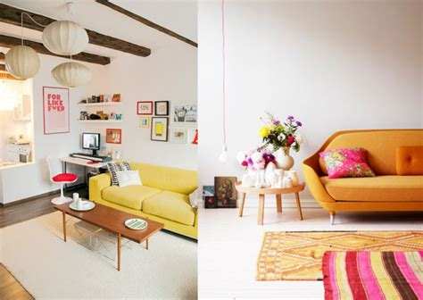 Sixties Home Decor 20 Salons Avec Un Canap 233 Jaune Joli Place