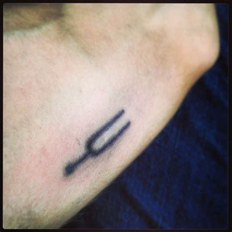 fork tattoo tuning fork stick and poke my gave me