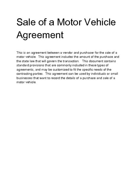 Agreement Letter For Sale Of Motor Vehicle Welcome To Docs 4 Sale