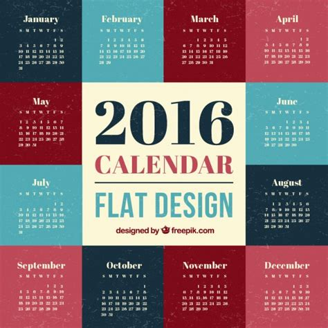 calendar design sles 2016 2016 calendar flat design vector free download