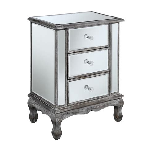 Mirrored Side Table Living Room 3 Drawer Mirrored End Table 413359wgy
