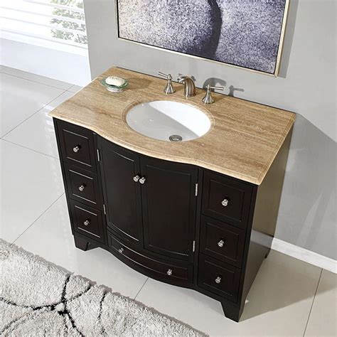 "Silkroad Exclusive 40"" Single Sink Cabinet   Travertine"