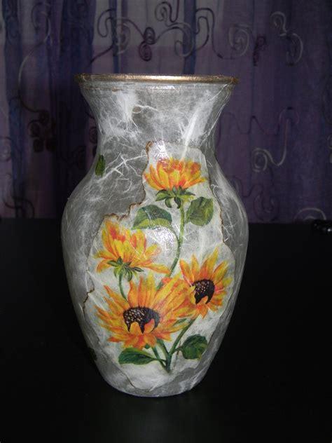 vasi decoupage vaso in vetro con girasoli decorato a decoupage per la