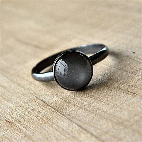 Moonstone Ring grey moonstone ring platinum gray moonstone and oxidized