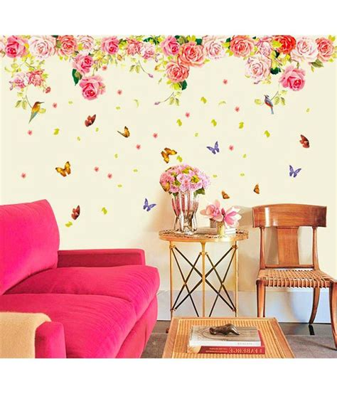 romantic red rose flowers wall decals living room bedroom stickerskart pink and blue vinyl flowers with butterflies