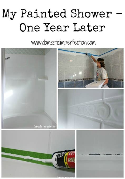 how do you paint tiles in the bathroom my painted shower one year later woman painting