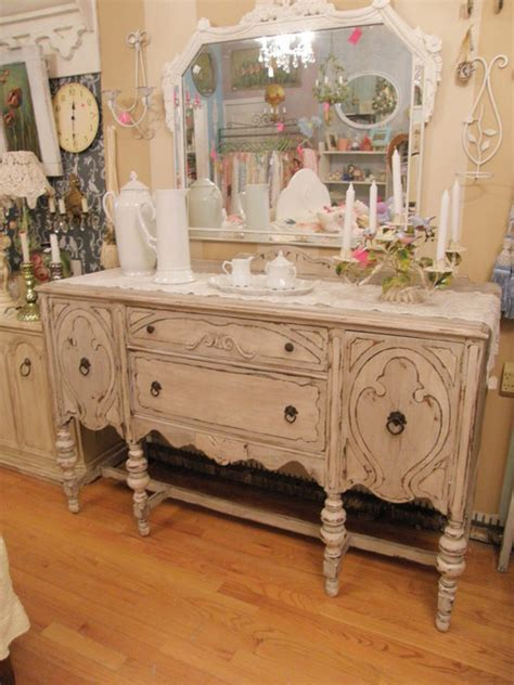 shabby chic antique buffet french gray & white distressed