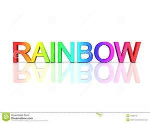 the word color in the word rainbow in rainbow colors royalty free stock
