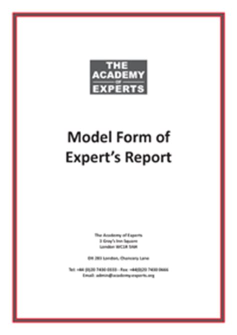 expert witness report template model form of expert s report a template for expert