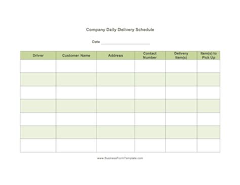Daily Delivery Schedule Template Daily Delivery Log Template