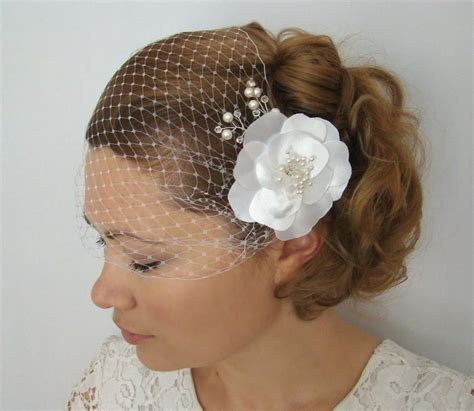 Bridal Flower Hair Clip Set birdcage veil with flowers 2 pieces set bridal veil