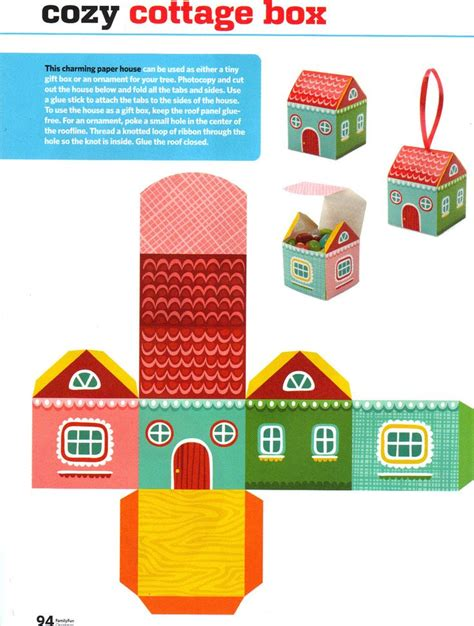 Free Paper Craft Ideas - free printable paper house box free printables and more