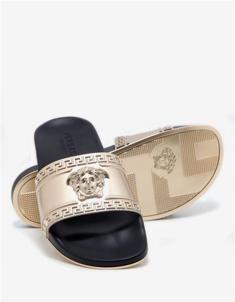 versace sandals sale versace black gold medusa embossed slide sandals