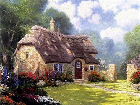 Kinkades Cottage by Cottage Forest Wallpaper Kinkade Painting