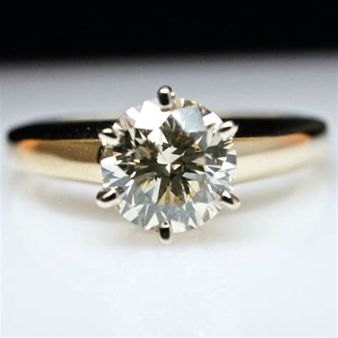solitaire diamond engagement ring 14k yellow gold 1