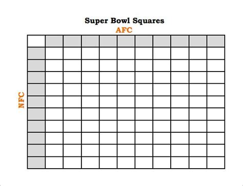 Free Football Square Template by 2015 Bowl Printable Grids Autos Post