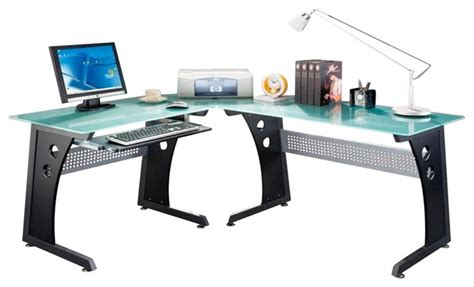 Techni Mobili Graphite Frosted Glass L Shaped Computer Desk Techni Mobili L Shape Frosted Glass Metal Base Computer Desk In Graphite Modern Desks And