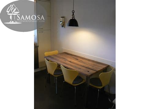 kleine tafel samosa ontwerp op maat 187 oud eiken en rvs