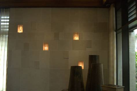 lighted niches in stoneply natural stone cladding and wall