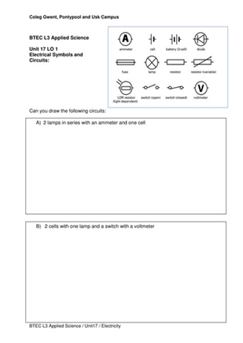 circuit diagram symbols worksheet circuit diagram worksheet by bur00917 teaching resources