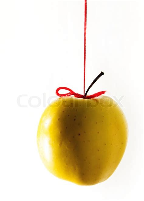yellow apple hanging on a red thread stock photo colourbox