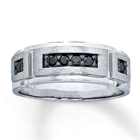 s 6mm wedding ring 1 4 cttw black diamonds 10k