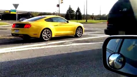 2015 mustang v6 or ecoboost 2015 mustang yellow v6 or ecoboost on the streets