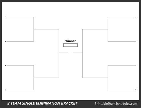 8 Team Bracket Template printable 8 team bracket single elimination tournament