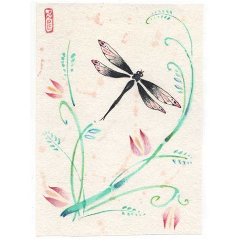 dragonfly sumi e painting dragon fly tattoos pinterest