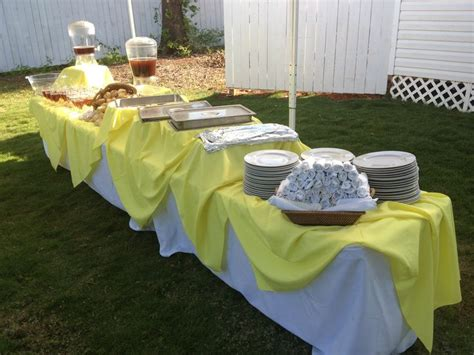 Outside Yellow Buffet Table Decoration Tablescapes Yellow Buffet