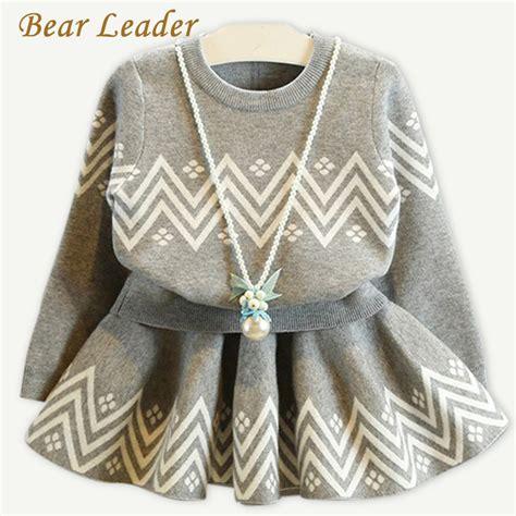 pattern dress long sleeve bear leader girls dress 2017 winter geometric pattern