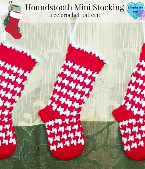 free pattern for large christmas stocking houndstooth crochet stocking pattern favecrafts com