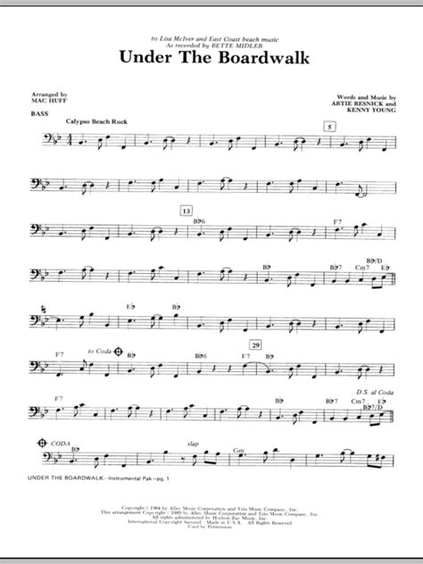 printable lyrics to under the boardwalk under the boardwalk bass sheet music at stanton s