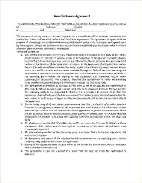 non disclosure agreement template word 4 non disclosure agreement template wordreport template