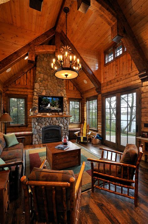 Lodge Living Room Decor by One Room Cabin Interior Studio Design Gallery Best Design