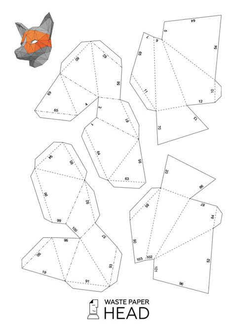mask template pdf papercraft fox mask printable diy template fox mask