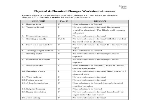 Physical And Chemical Change Worksheet Answers Analyzing Graphs